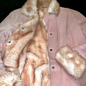 Wilson leather suede fur coat with matching purse